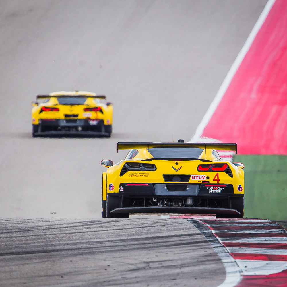 Chevrolet Corvette GTLM C7.Rs Exit Turn 11 at COTA